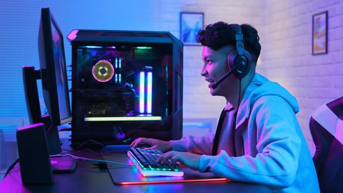Cyber sport gamer playing game stock photo