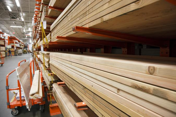 Stack of 2x4's at a home improvement warehouse.