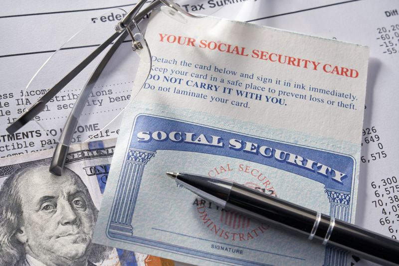 Social Security Card with calculator and money.