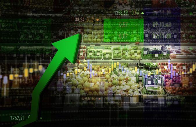 Vegetable, Fruit, Stock Market Data, Moving Up, Growth.