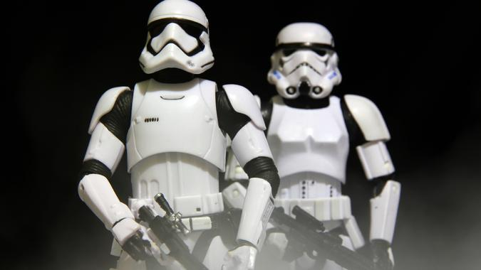 Vancouver, Canada - January 25, 2016: A pair of stormtrooper models from the Star Wars film franchise.