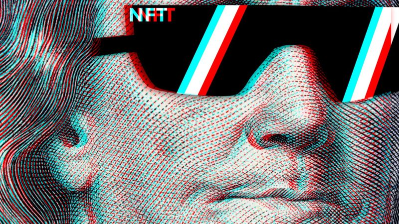 Concept cryptographic nft on a hundred-dollar bill franklin in glasses stock photo