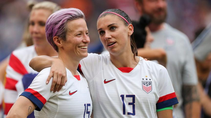 Mandatory Credit: Photo by BPI/Shutterstock (10329049fr)Megan Rapinoe of USA and Alex Morgan of USA celebrate winning the Women's World CupUSA v Netherlands, FIFA Women's World Cup Final, Football, Stade de Lyon, France - 07 Jul 2019.