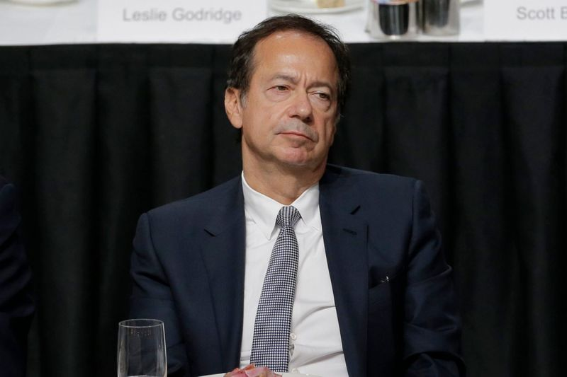 Mandatory Credit: Photo by Seth Wenig/AP/Shutterstock (10473155i)John Paulson listens while President Donald Trump speaks during a meeting of the Economic Club of New York in New YorkTrump, New York, USA - 12 Nov 2019.