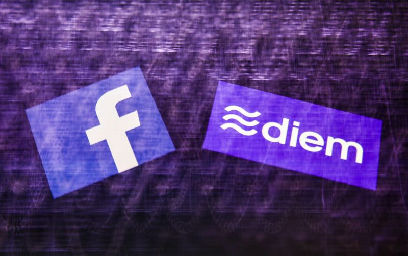 POLAND OUTMandatory Credit: Photo by Jakub Porzycki/NurPhoto/Shutterstock (11902661c)Logos of Facebook and Diem displayed on a phone screen and a keyboard in this multiple exposure illustration photo taken in Krakow, Poland on May 13, 2021.