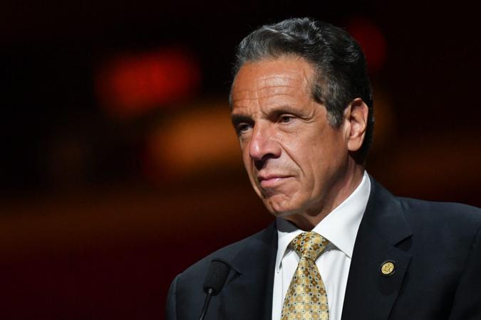 Mandatory Credit: Photo by Erik Pendzich/Shutterstock (11907894ax)Governor Andrew Cuomo holds a press conference at Radio City Music Hall in New YorkGovernor Andrew Cuomo press conference, New York, USA - 17 May 2021.