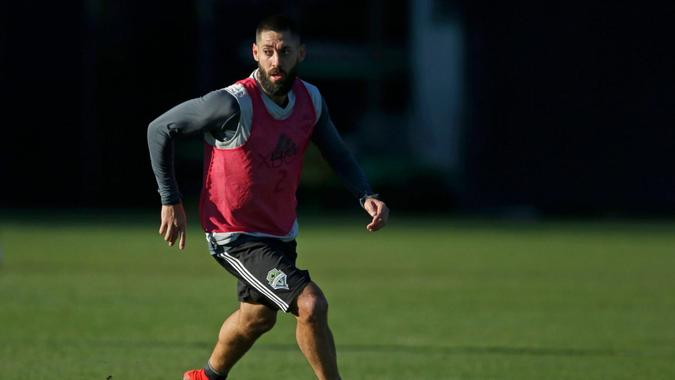 Mandatory Credit: Photo by Ted S Warren/AP/Shutterstock (9263211c)Seattle Sounders forward Clint Dempsey looks to pass during training, in Tukwila, Wash.