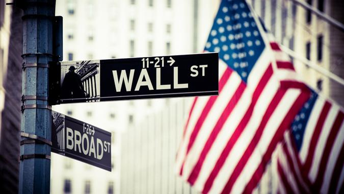 Wall Street and Broad Street Signs stock photo