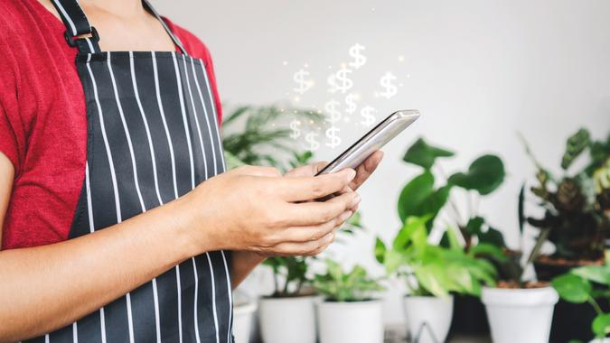 Woman hand shop owner get an order from selling plants, tree online, hand using smart phone to make money from home stock photo