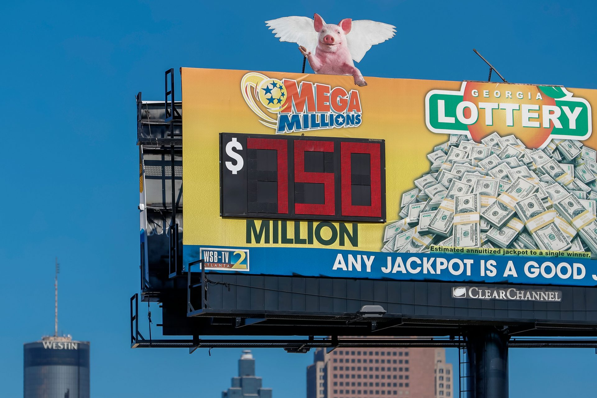 Mandatory Credit: Photo by ERIK S LESSER/EPA-EFE/Shutterstock (11706057b)A billboard displays the Mega Millions multi-state lottery jackpot in Atlanta, Georgia, USA, 13 January 2021.