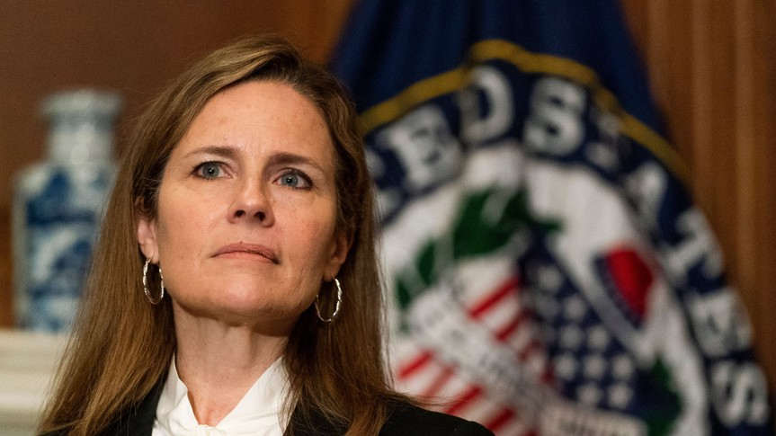Mandatory Credit: Photo by Shutterstock (10909760f)United States Supreme Court nominee Judge Amy Coney Barrett, right, listens as United States Senator Jerry Moran (Republican of Kansas), speaks during their meeting on Capitol Hill, in Washington.