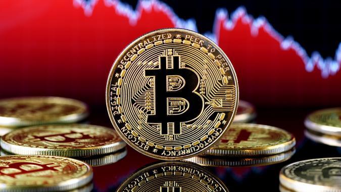 Bitcoin falling down stock photo