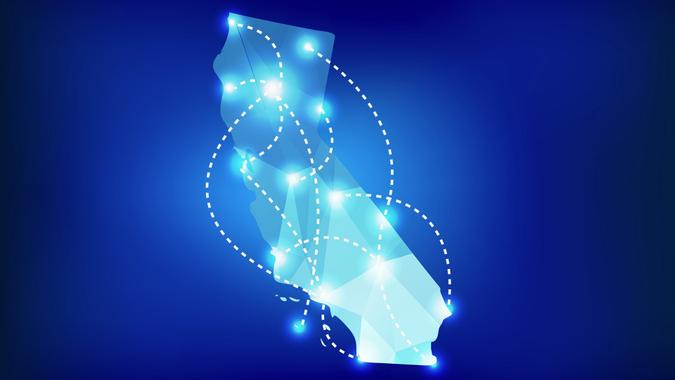 California state map polygonal with spotlights places stock illustration