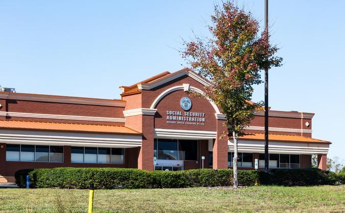 Hickory, NC, USA-2 Nov 2019: Local Social Security Administration office building.