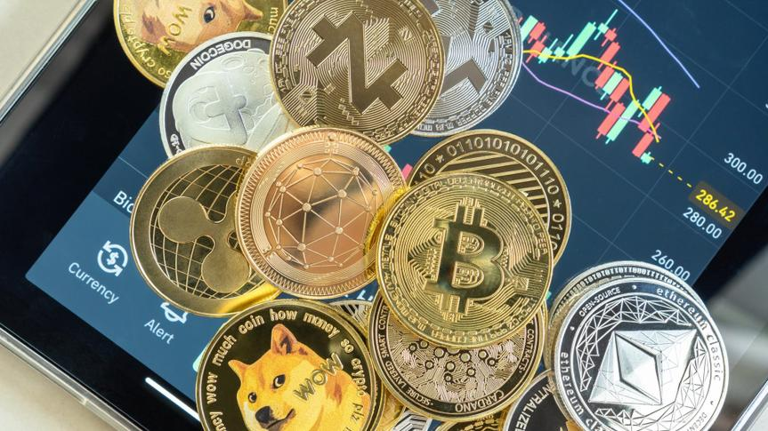 Bangkok, Thailand - 1 July 2021: Cryptocurrency on Binance trading app, Bitcoin BTC with altcoin digital coin crypto currency, BNB, Ethereum, Dogecoin, Cardano, defi p2p decentralized fintech market.