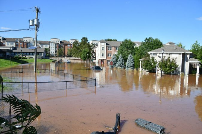 New Brunswick, NJ USA - September 2, 2021: City of New Brunswick flooded after Hurricane Ida.
