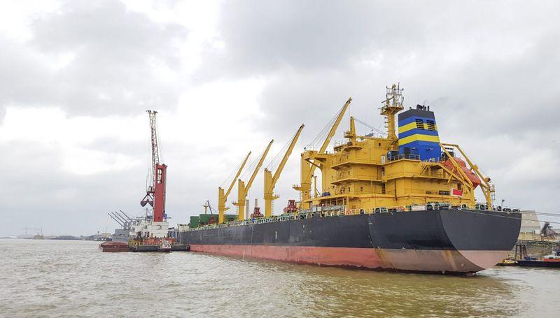 General Cargo ship moored in port, Mississippi River.