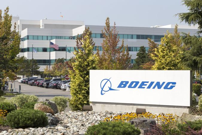 Everett, WA, USA - August 29, 2017: A wide look at a Boeing facility with a visible Boeing sign.
