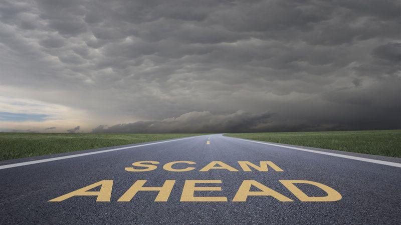 Scam ahead stock photo