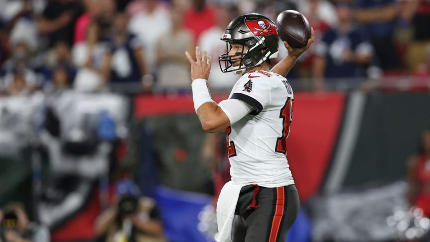 Mandatory Credit: Photo by Mark LoMoglio/AP/Shutterstock (12437068bx)Tampa Bay Buccaneers quarterback Tom Brady (12) during the first half of an NFL football game against the Dallas Cowboys, in Tampa, FlaCowboys Buccaneers Football, Tampa, United States - 09 Sep 2021.