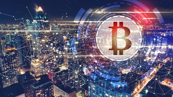 Bitcoin with the New York City skyline stock photo