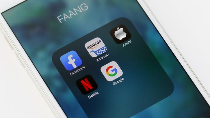 Tel Aviv, ISRAEL - May 28 2020 : FAANG Big Tech icons (Facebook, Amazon, Apple, Netflix & Google). FAANG is an acronym Of the 5 strong stocks in the Nasdaq technology stocks index. stock photo