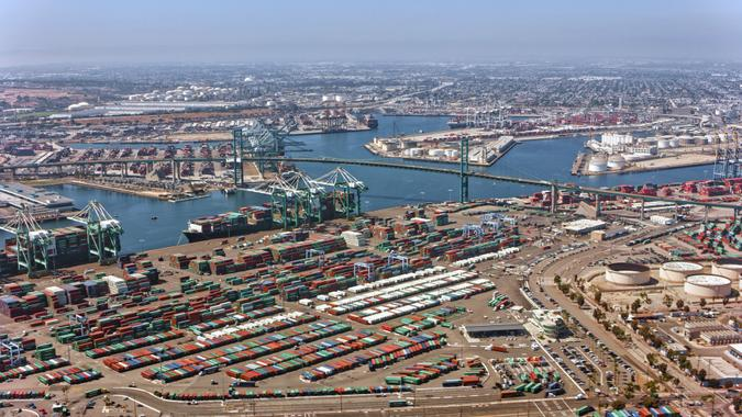 Aerial view of Vincent Thomas Bridge at the Port of Los Angeles, California, USA.