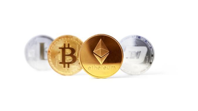 Baku, Azerbaijan - September 14, 2020: Set of popular cryptocurrencies focused on Ethereum coin.