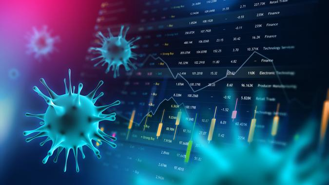 Covid-19 Coronavirus with Finance Currency Stock Trading Chart for Economy and Business.