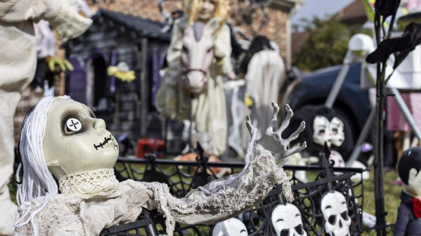 Halloween is in full gear in this front yard in Virginia Beach, Virginia - filled with scary dolls, a graveyard and a plethora of frightening additions.