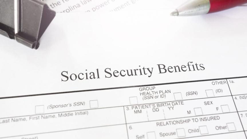 Blank Social Security Benefits application form.