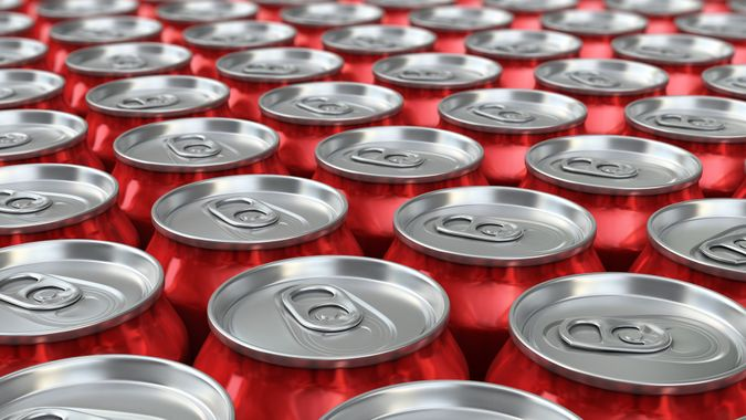 3d render Red Drink Cans Depth of field (close-up).