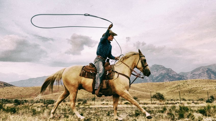 Young cowboy with lasso riding quarter horse on the open western range with mountains in the background.
