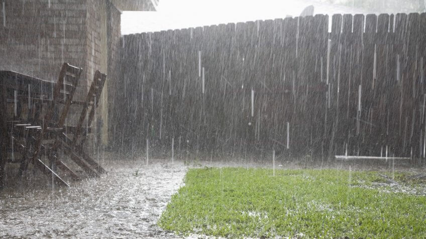 View of heavy rains in backyard.