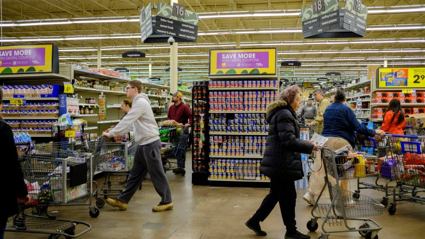 Shoppers fill a Kroger grocery store stripping many shelves clean of merchandise, during the Covid-19 national emergencyCoronavirus Outbreak, Bloomington, USA - 18 Mar 2020Indiana governor Eric Holcomb banned in-person dining in all restaurants, shut down all bars, in the Indiana.