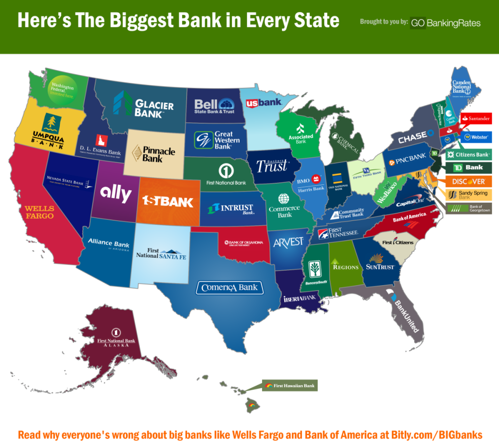 Us Bank Locations Map - Major banks in usa