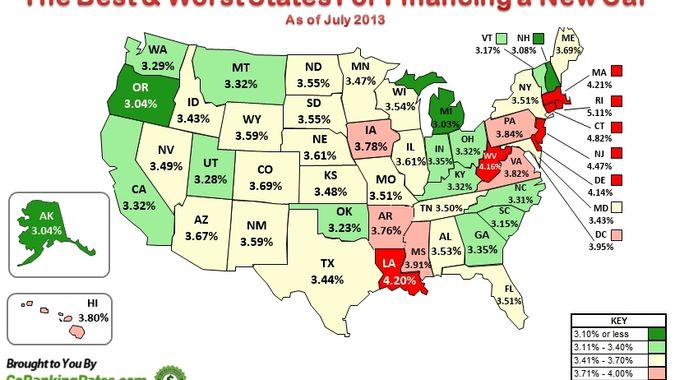 States with Highest and Lowest Auto Loan Rates
