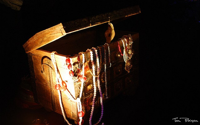 saving money in treasure chest